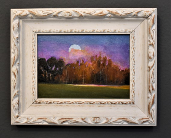 """Framed landscape  painting 12"""" abstract painting nice   wall art on  canvas"""