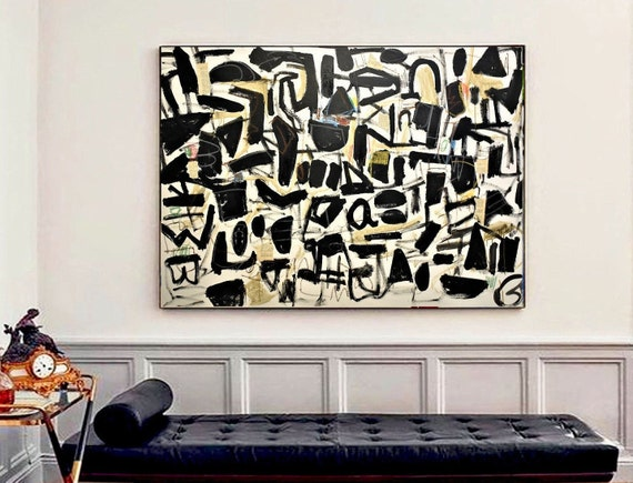 black white  abstract painting,, oil painting ,, large abstract painting,  Acrylic painting  ,original painting