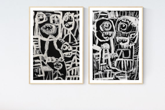 Black white abstract Painting nice  original painting   jolina anthony