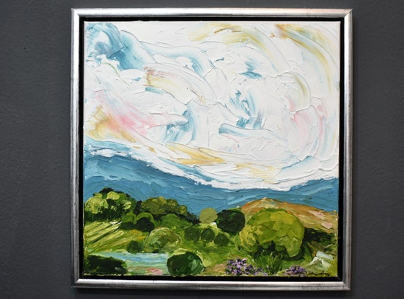 Framed 3 D Landscape   abstract painting by jolina anthony