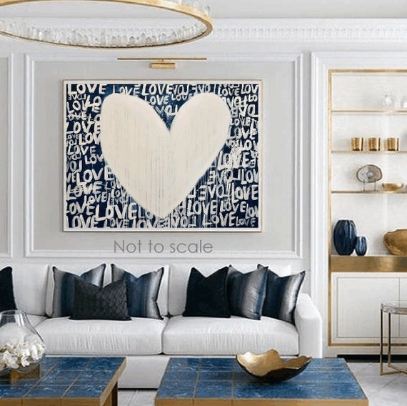 white Heart abstract painting nice  original painting by Jolina Anthony, abstract art