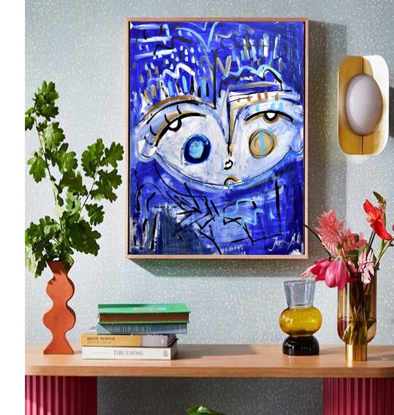 colorful face  abstract  painting  , nice large  painting,colorful  abstract art   by  Jolina Anthony