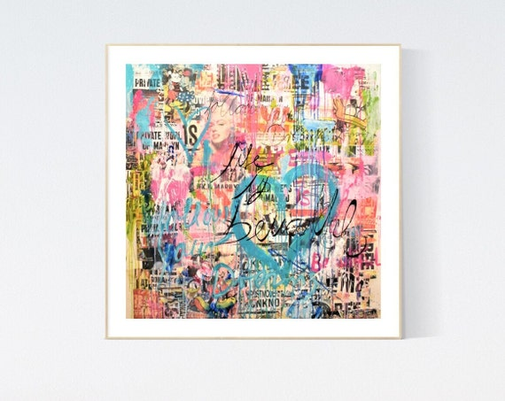 Merilyn love story  abstract painting, Art Print  by Jolina Anthony