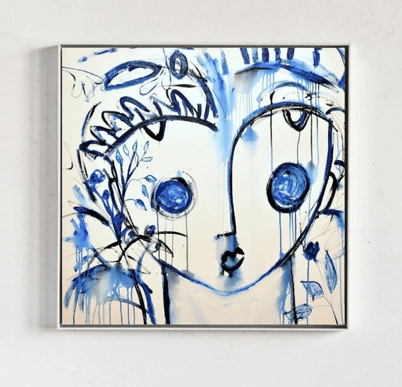 blue Face  painting abstract painting   modern original painting,by   Jolina Anthony