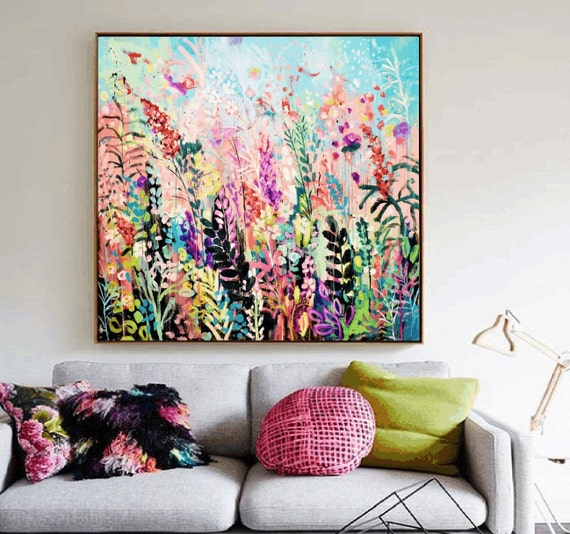 colorful  flowers abstract painting  original painting  by Jolina Anthony