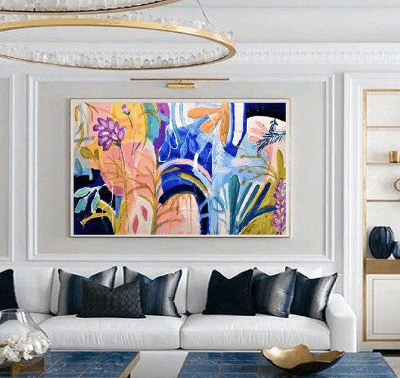 original blue violet tropical  abstract painting nice  original painting by Jolina Anthony,