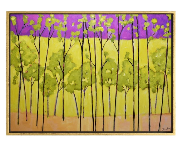 abstract art yellow Forest abstract painting by Jolina Anthony