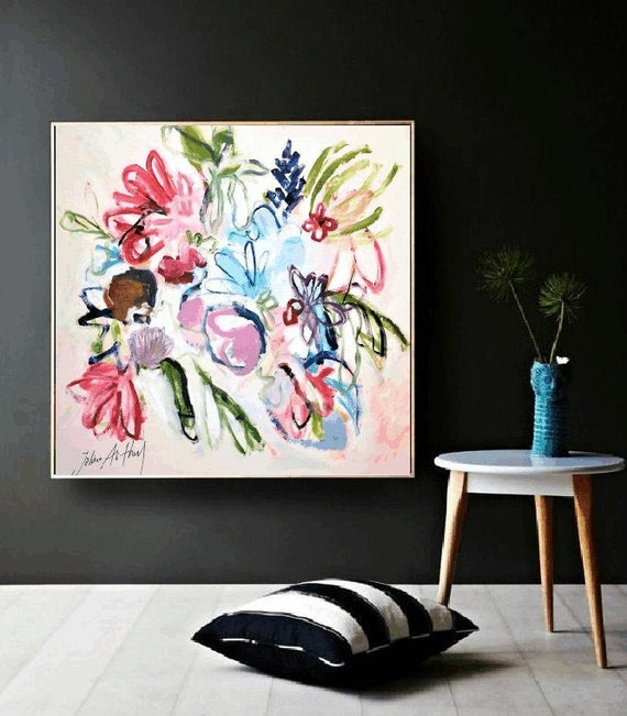 abstract  painting, flower  original painting,,,  Jolina Anthony