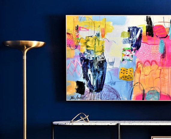 pink yellow  original large  abstract painting by Jolina Anthony