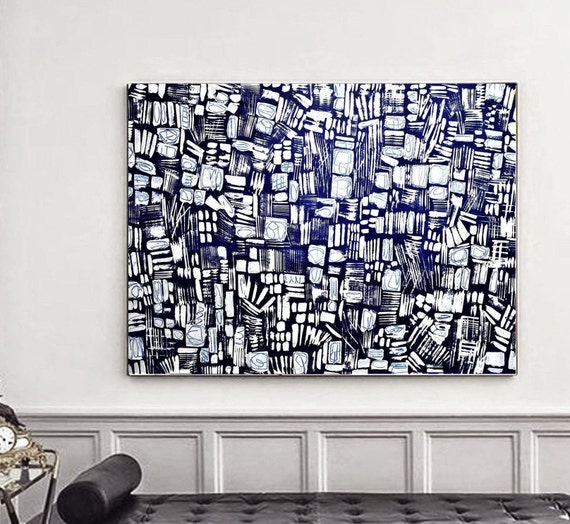 blue textured abstract painting  nice original painting ,   by Jolina Anthony