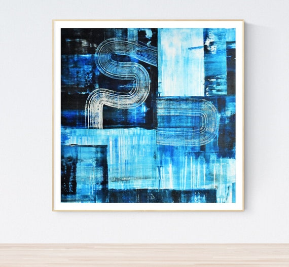 blue  white abstract painting, nice  large painting colorful original painting interesting oil painting , jolina anthony abstract art