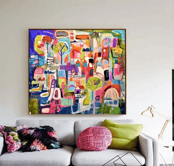 colorful     large Abstract painting wunderful  original painting by  Jolina Anthony a beautifull