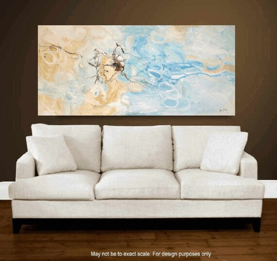 abstract painting -creme large abstract painting, -nice original painting,- blue original painting