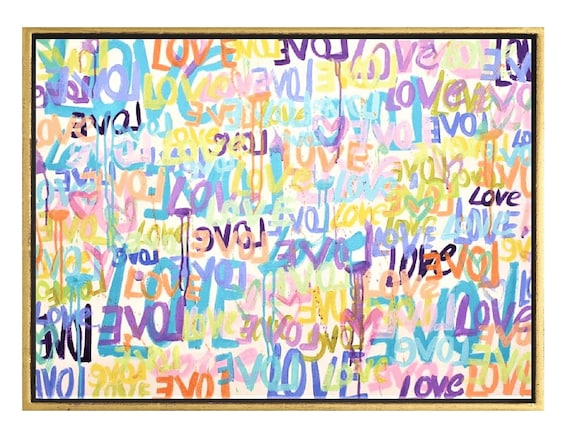 abstract painting LOVE LOVE  ,  original painting, nice wall art by jolina anthony