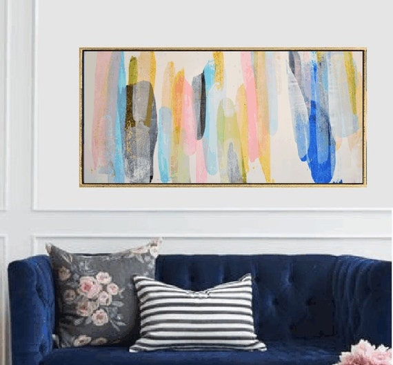 rosa creme blue abstract painting by Jolina Anthony