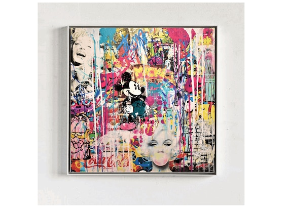 Marilyn meets Micky original   abstract painting by jolina anthony oil painting