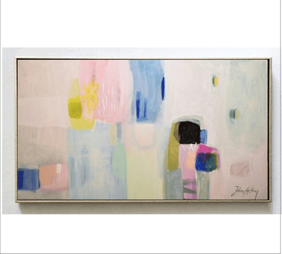 rosa, blue, creme   abstract painting by Jolina Anthony