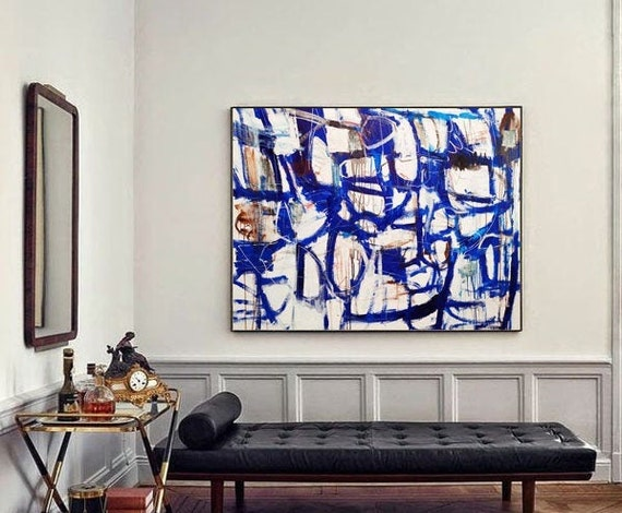 """60""""x36""""Blue white  abstract painting,, oil painting ,, large abstract painting,  Acrylic painting  ,original painting"""
