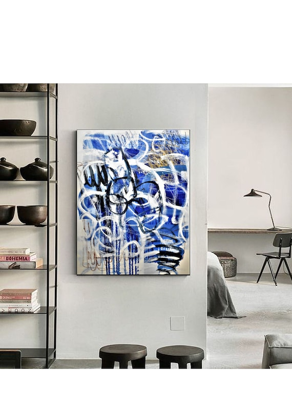 blue white abstract painting by Jolina Anthony