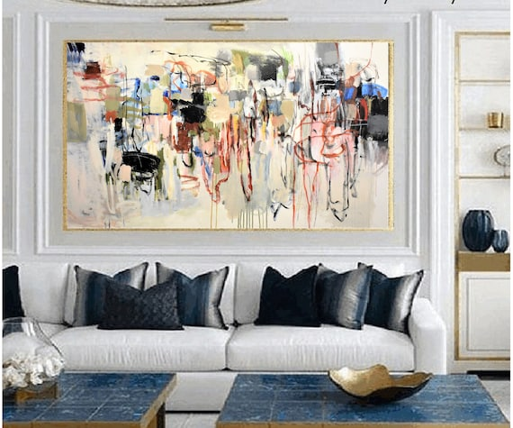 mixed   large Abstract painting wunderful  original painting by  Jolina Anthony a beautifull