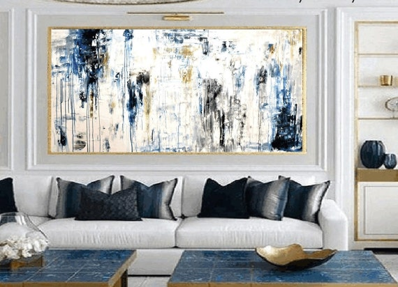 blue creme    large Abstract painting wunderful  original painting by  Jolina Anthony a beautifull