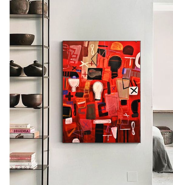 abstract painting red mixed media original painting  by Jolina Anthony