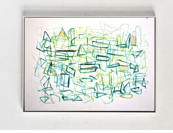 green geometric    abstract painting by Jolina Anthony