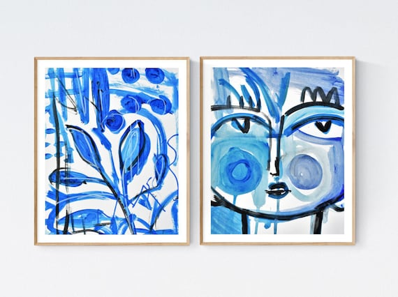 white blue abstract painting 10x8   nice Original Painting by  Jolina Anthony