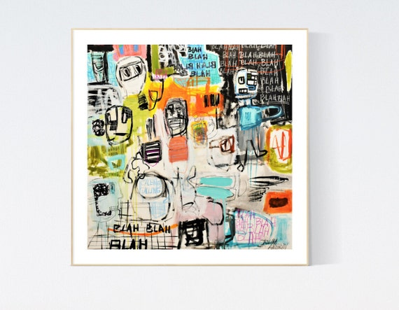 Canvas Print abstract painting  colorful , Art Print  by Jolina Anthony