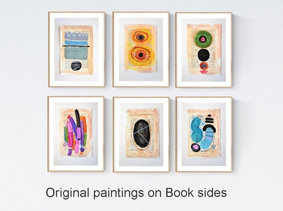 6 book sides  colorful   abstract painting t by jolina anthony signed