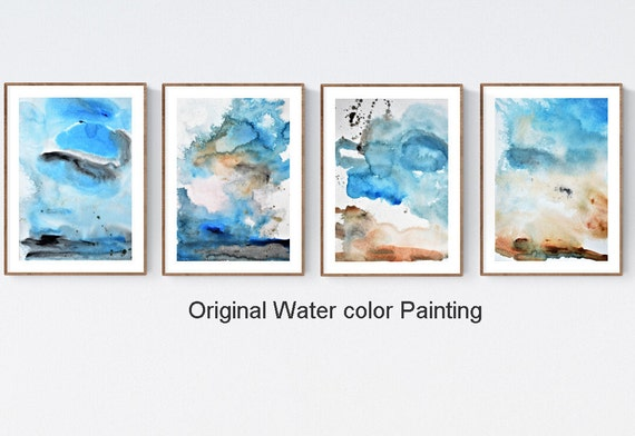set of 4   abstract  painting waater color  original painting   by   jolina anthony