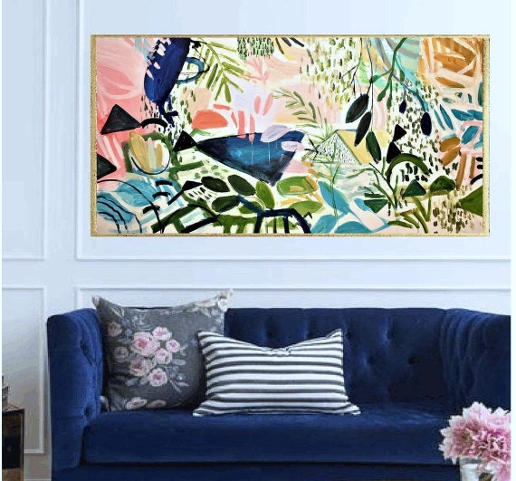 Garden abstract Art rosa abstract  painting, Acrylic painting, large abstract painting