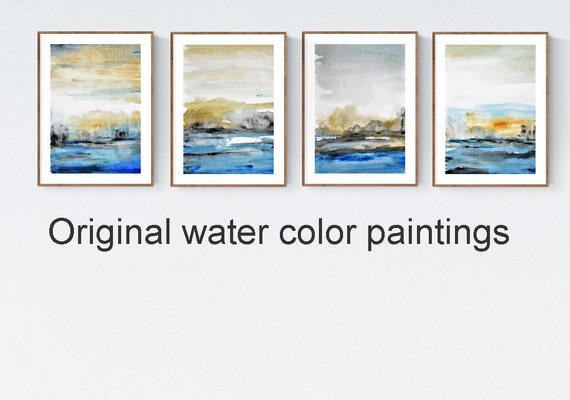set of 4   abstract painting, nice water color painting by jolina anthony abstract art