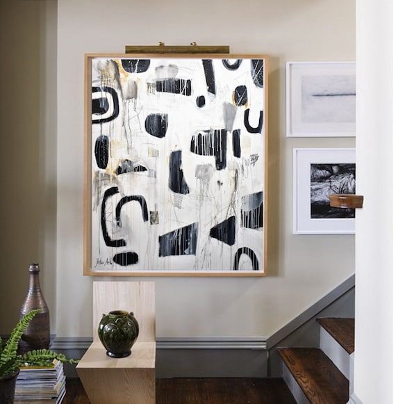 black and white  abstract painting by jolina anthony oil painting