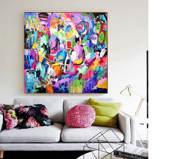 "colorful abstract painting 40"" original painting  by Jolina Anthony"