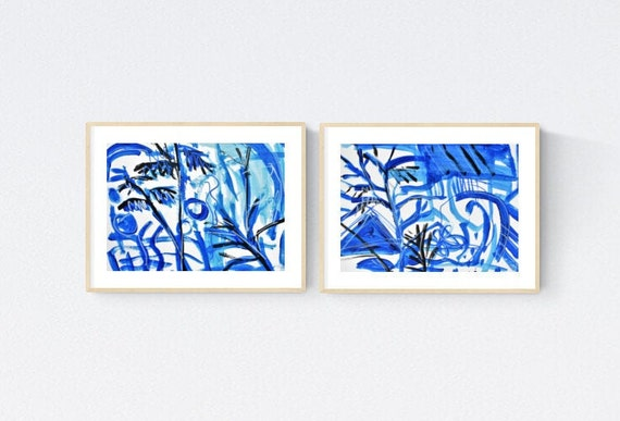 blue tropical  abstract painting  nice  abstract l art blue original painting