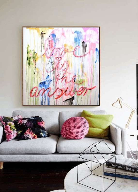 LOVE abstract Art rosa abstract  painting, Acrylic painting, large abstract painting