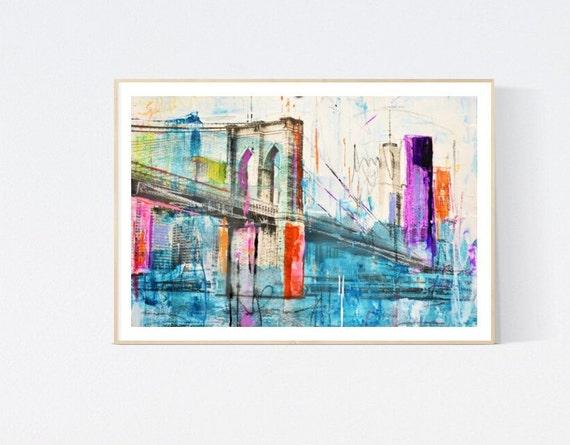 brooklin bridge   abstract painting by Jolina Anthony