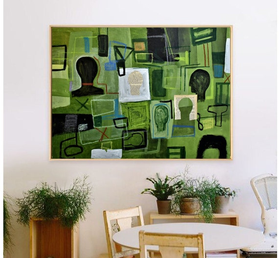 abstract painting green mixed media original painting  by Jolina Anthony