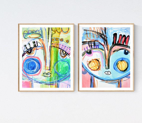 set of 2 abstract Painting nice  original painting   jolina anthony