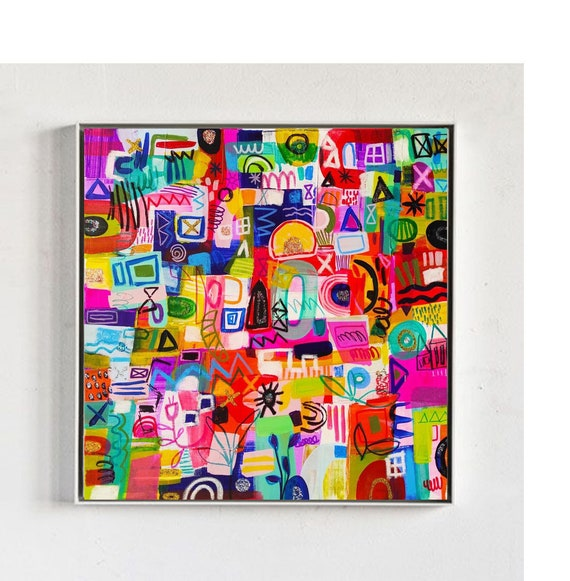 colorful mixed framed , abstract Painting,, very nice wall art,,by Jolina Anthony