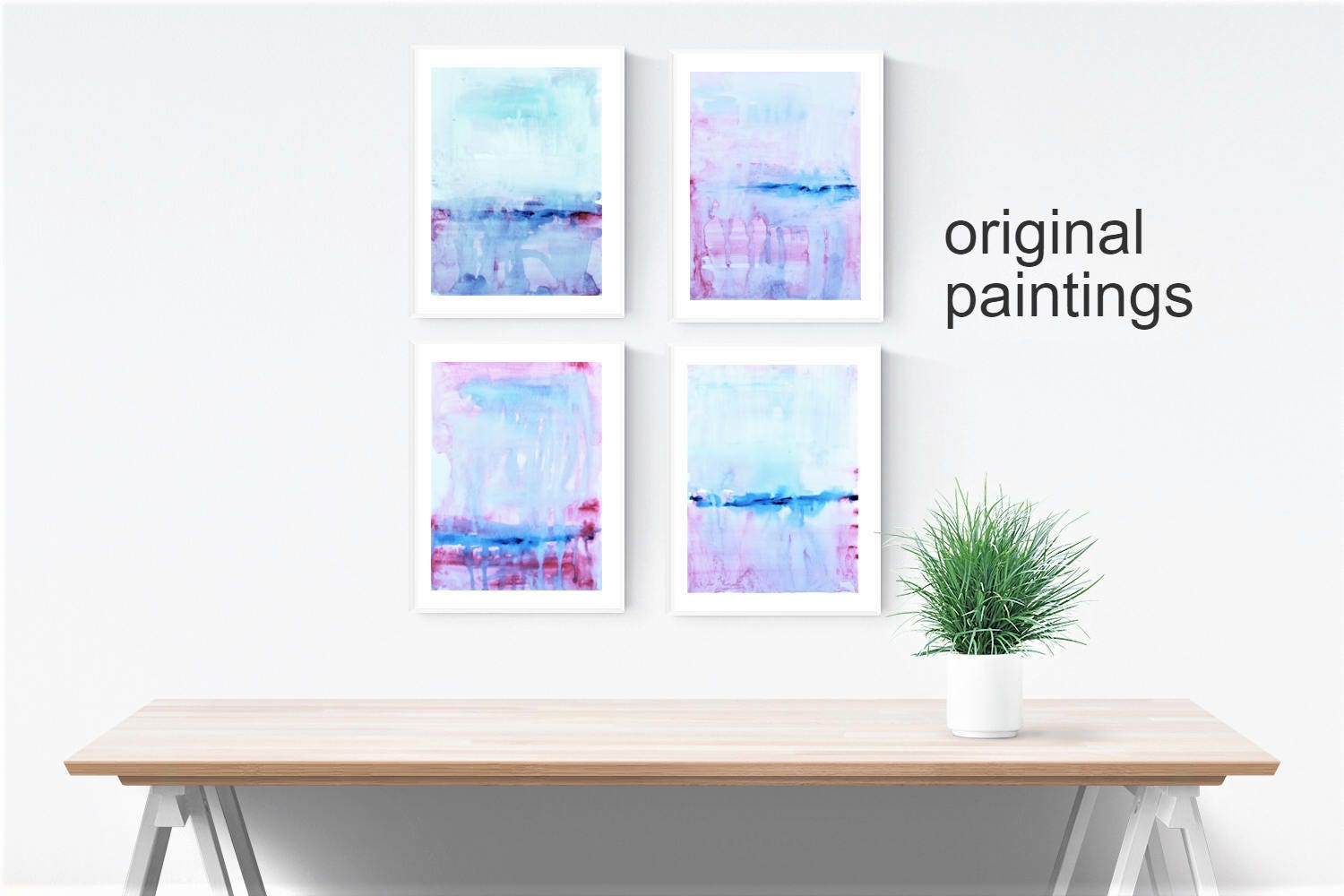 Set Of 4 Abstract Painting Xx Wall Art Xx Original
