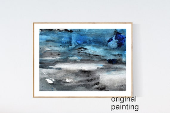 abstract painting , brown   watercolor  painting nice wall art by jolina anthony ,, blue brown original painting