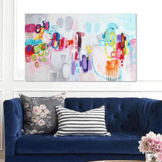 """colorful ,    60""""x36  abstract painting nice oil painting      jolina anthony"""