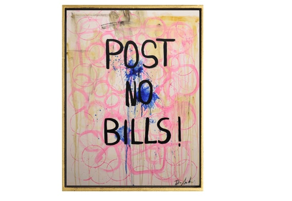 abstract painting post no bills   white original painting  by Jolina Anthony