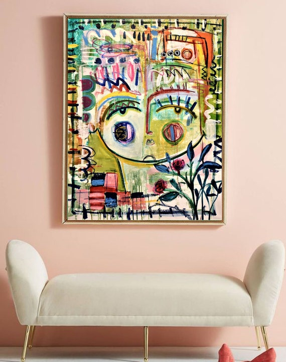 Face  large Abstract painting wunderful  original painting by  Jolina Anthony a beautifull