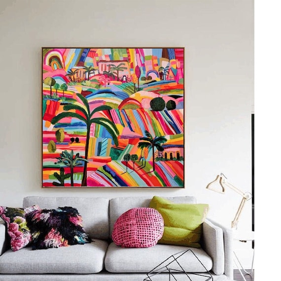 "40""x40""colorful abstract Art white abstract  painting, Acrylic painting, large abstract painting"