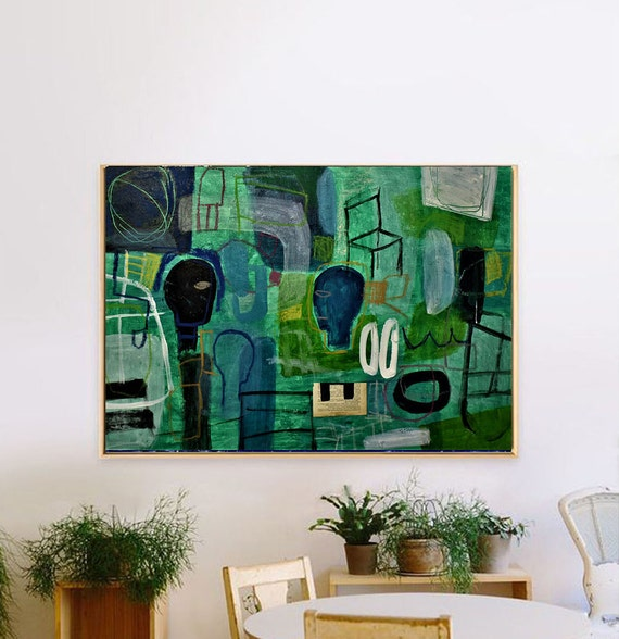 abstract painting green original painting  by Jolina Anthony