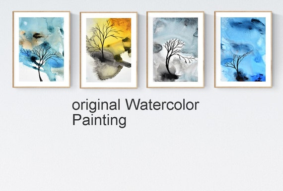 abstract painting, nice  water color tree original painting by  jolina anthony abstract art
