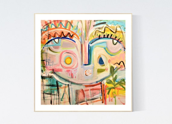 Face abstract Art nice  abstract painting, Art Print  by Jolina Anthony